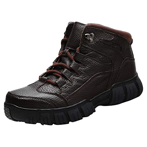 Men Warm Winter Snow High-Top Boots Outdoor Waterproof Breathable Lightweight Non-Slip Boy Shoes (✅✅-Brown, 9.5-10)