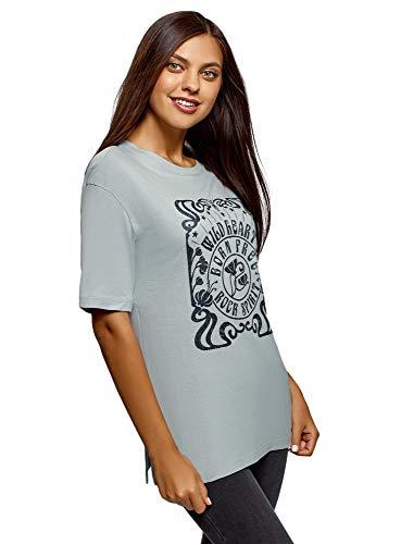 oodji Ultra Mujer Camiseta Holgada con Estampado, Verde, ES 42 / L