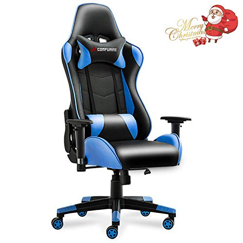 JL Comfurni Gaming Chair Racing Style Ergonomic Swivel Computer Office Desk Chairs Adjustable Height Reclining High-Back with Lumbar Cushion Headrest Leather Gamer Chair Blue chair gaming