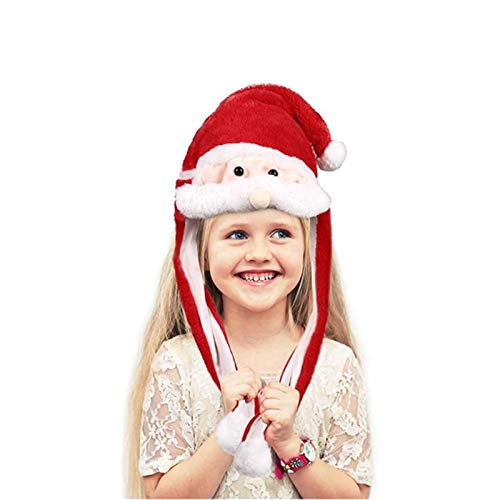 ZPFDM Ear Moving Jumping Hat, Moving Santa Hat, Funny Plush Hat, Cosplay Costumes Accessories Cap Plush Toy