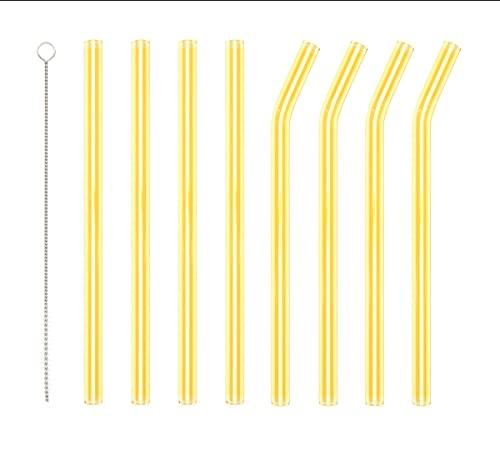 Cannucce gialle riutilizzabili con 1 spazzola per la pulizia, 4 curve e 4 cannucce in vetro dritte per cocktail, frullati o tè, rispettose dell'ambiente e sano.