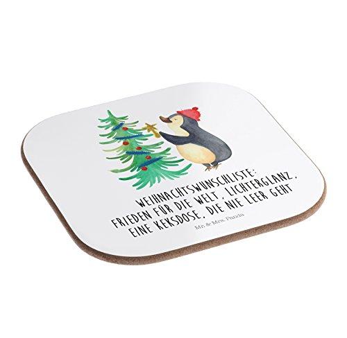 Mr. & Mrs. Panda Geschenk, Geschenke, Quadratische Untersetzer Pinguin Weihnachtsbaum mit Spruch - Farbe Weiß