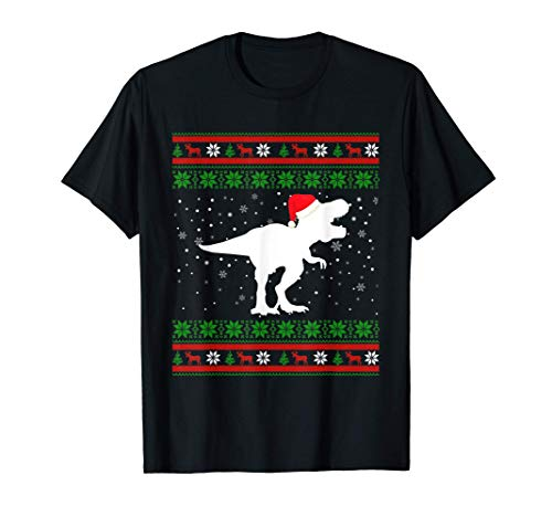 Dinosaur Christmas Ugly Sweater T Rex Pajamas Gift Boys Kids T-Shirt