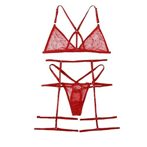 Women's Sexy Lace Bra Underwear Set Lace Thong Ladies Lingerie Djustable Shoulder Straps Hollow Design Comfortable and Soft
