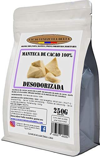 Cacao Venezuela Delta · Manteca De Cacao 100{740115ca2aba16e76e3abe95ecc5f6ae4edfe9f9e488707ea44c60480663364a} · Desodorizada · 250g - Calidad Extra