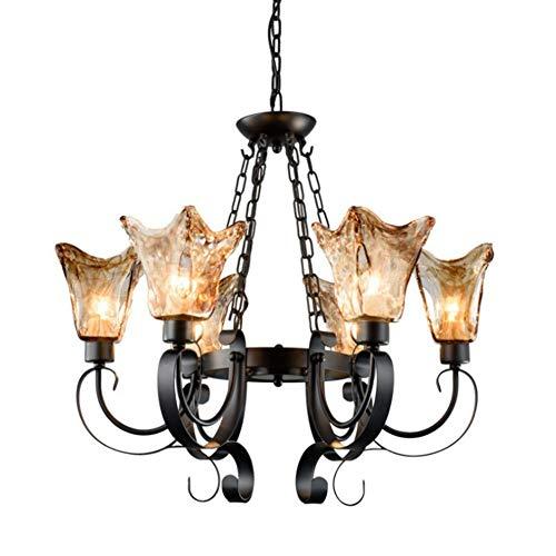 luz de techo LCSD Lámpara americana de hierro forjado lámpara de sala de estar personalidad simple lámpara de vidrio creativa villa iluminación atmosférica 720 * 620 (mm)