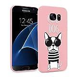 ZhuoFan Funda Samsung Galaxy S7 Edge, Cárcasa Silicona Rosa con Dibujos Diseño Suave Gel TPU Antigolpes de Protector Piel Case Cover Bumper Fundas para Movil Samsung Galaxy S7Edge, Perro Mono