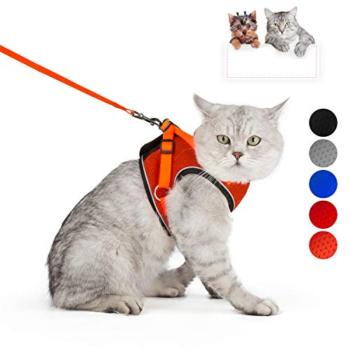 SENYE PET Cat Harness Escape Proof Small Cat and Dog Soft Mesh Vest Harnesses Adjustable Pet Harness with Leash Clip & Reflective Strap Cat Walking Jacket Comfort Fit for Kitten Puppy
