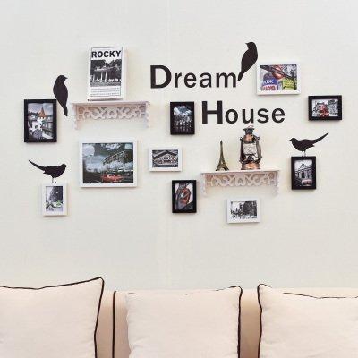 Fotolijstjes voor aan de muur, vogel, alfabet, wandposters, gecombineerde slaapkamer, woonkamer, wanddecoratie, geïntegreerde plank, hoofdwand Swing-, 10 uur zwart-wit gebouwen.