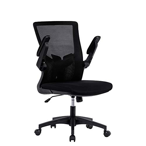Silla de oficina con reposabrazos y respaldo ajustables, silla de ejecutivo, silla giratoria ergonómica, silla de ordenador, color negro, altura regulable