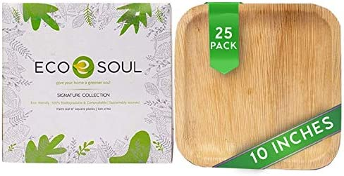 ECO SOUL 100 Compostable Biodegradable Disposable Palm Leaf Plates Like Bamboo Plates Eco friendly product image