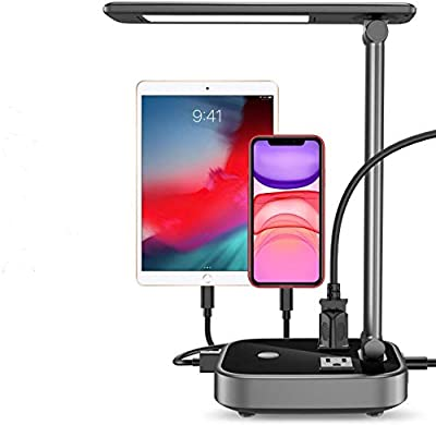 Yostyle LED Desk Table Lamp Light with 4 Surge Protector USB Charging Port and 2 AC Power Outlet, 8.2FT Cord Power Strip Station, 3 Level Brightness, Eye-Caring Foldable Lamp for Bedside Office Hotel