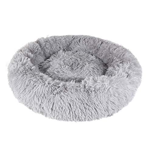 Riverside Light Grey Dog Bed Fluffy Snug Donut Puppy Pet Cushion Calming Comfy Mattress (50cm XS)