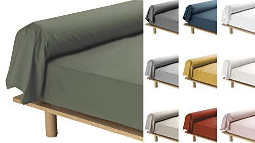 Promo Linge - Funda de almohada de percal de 78 hilos, 85 x 185 cm, color verde caqui