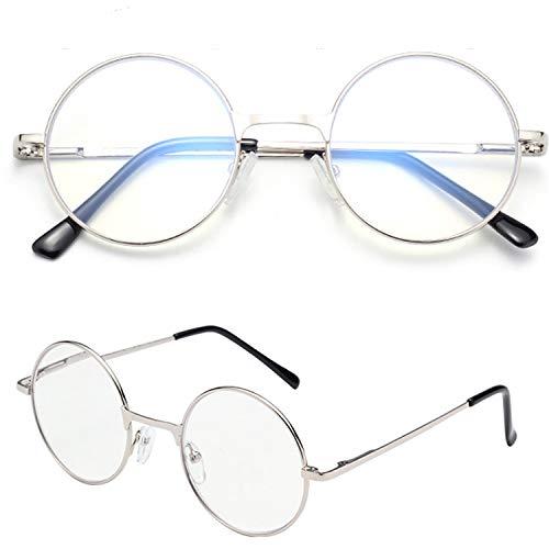 レンサン(LianSan)老眼鏡 丸 メガネ サークル ロイド ラウンド レディース メンズ 女性 男性 ファッション おしゃれな シニアグラス リーディンググラス 老眼鏡 L6800 (+1.50, シルバー)