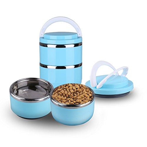 Yosoo Health Gear huisdier reisschaal, roestvrij staal huisdier voedsel waterschaal, geen morsen hond kat huisdier Bento kommen, water voedsel opslag container met handvatten voor hond kat outdoor reizen, 2 lagen
