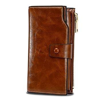 WOZEAH Women s RFID Blocking Large Capacity Luxury Wax PU Leather Clutch Wallet Card Holder Organizer Ladies Purse  brown
