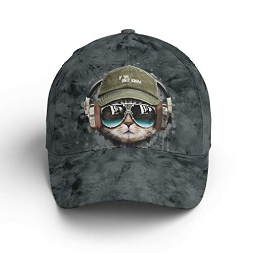 Knowikonwn Mens Cat Headset occhiali da sole Baseball Caps moda - Quick Drying Plain Cappelli bianchi2 taglia unica