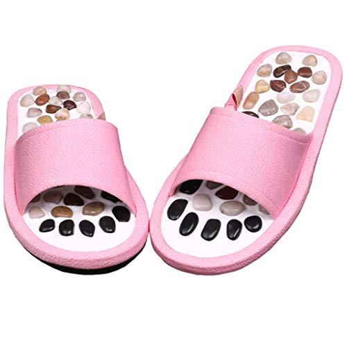 GWF Pebble Massage Hausschuhe, Home Indoor Hausschuhe Männer und Frauen Fußpflege Sandalen Natursteine Hausschuhe fördern die Durchblutung (Farbe : Pink, größe : 41-42EU)