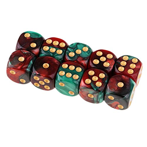 B Blesiya D6 Dados de 6 Caras para Juegos de Mesa Table Games Party (10 Piezas) - Rojo + Verde