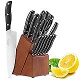 Cuchillos de Cocina Profesionales, 15 Piezas Juego de Cuchillos de Cocina, Hecho de Acero Alemán X50Cr15 Incluye Afilador de Cuchillos, Tijeras, Bloque de Madera