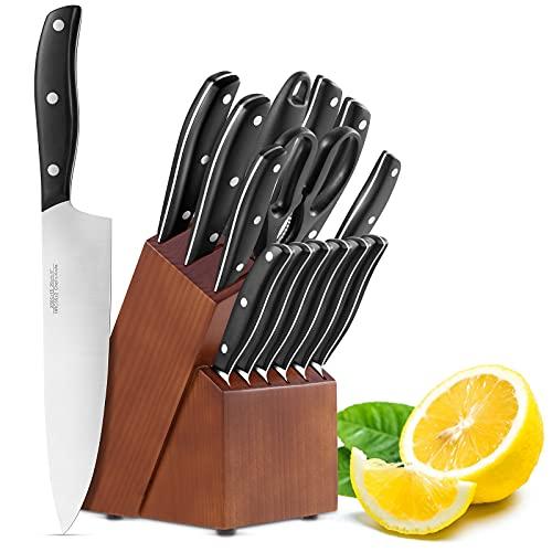 Set Coltelli 15 Pezzi, Coltelli da Cucina Professionali da Chef con Ceppo Coltelli in Legno, Set di Coltelli in Acciaio Inossidabile