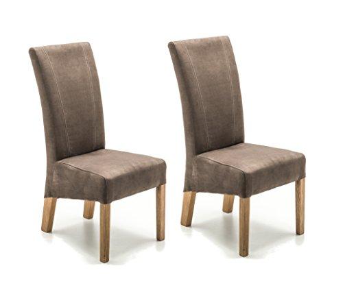 Robas Lund Stühle 2er Set Braun Sand, Küchenstuhl mit Stoffbezug, Stuhlbeine Massivholz Eiche geölt, Stuhl Fidelio