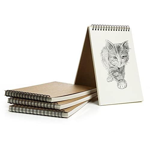 Blocco Note A5, GuKKK 4 Pezzi Sketchbook A5 Spiralati, Taccuini Kraft, Quaderno per Studenti, Blocco Note in Cartone, per Prendere Appunti, Studiare, Disegnare, Scarabocchiare, Registrare(50 Fogli)