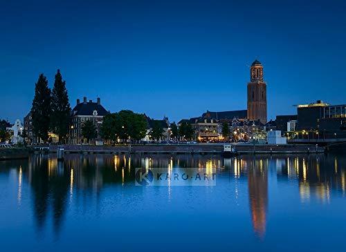 Karo-art - Schilderij - Zwolle in de avond - Canvas - Muurdecoratie
