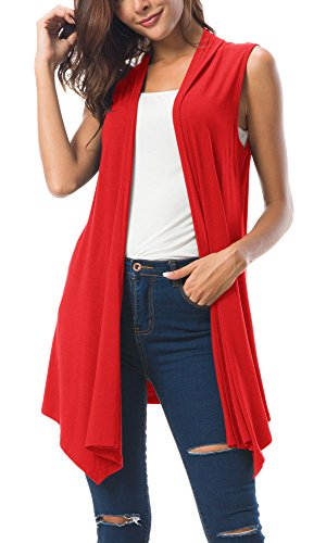 Urban GoCo Donna Senza Maniche Draped Cardigan Gilet (X-Large, Rosso)
