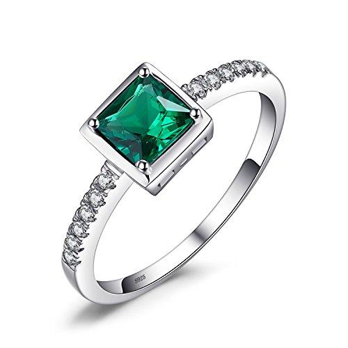 JewelryPalace ブルー 人工 エメラルド リング 5月 誕生石 シルバー925 指輪 ソリティア 婚約 結婚式 サイズ 11号