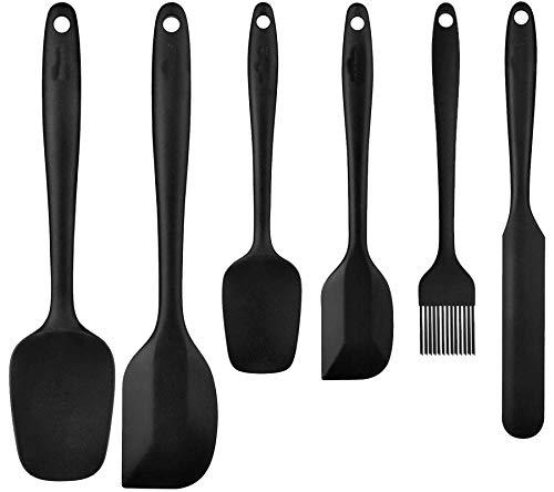 HENSHOW Silikon Küchenspatel Set 6-teilig, Premium Antihaft Silikon Küchenutensilien Kochset zum Kochen, Backen und Mischen (Schwarz)