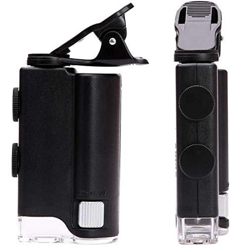 CKQ-KQ Telefoon Clip Glas met licht, 60x 100x Verstelbare sterk vergrotende HD Handheld Pocket microscoop vergrootglas for sieraden Stamps Coins Identificatie