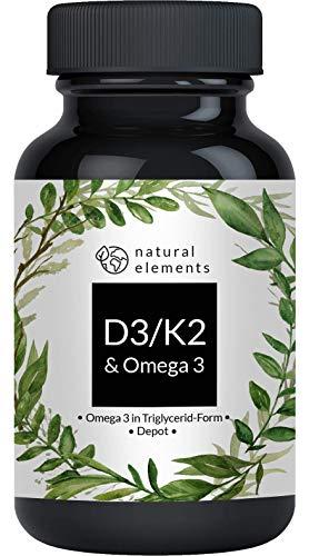 Vitamin D3 + K2 + Omega 3 - Premium: 99,7+{ba464e251d65db9855009a2151503f119a45bf2adc63f005637261b63fb9f962} All-Trans K2 (K2VITAL®), Premium Omega 3 in Triglycerid Form und hochbioverfügbares D3 - Laborgeprüft