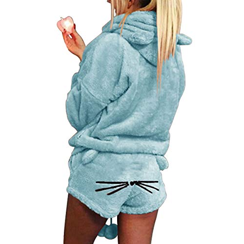 XingYue Direct 2 stücke Frauen Katze Pyjamas Nette Mädchen Meow Nachtwäsche Weichen Bademantel Shorts Winter Lounge Nachtwäsche Sets (Color : Sky Blue, Size : L)