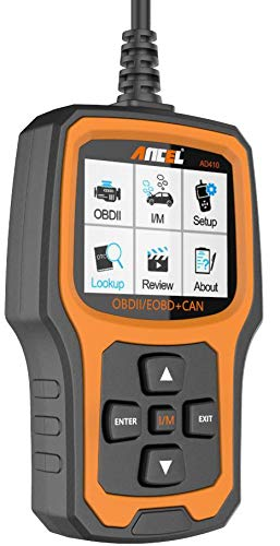 ANCEL AD410 Enhanced OBD II Vehicle Code Reader Automotive OBD2 Scanner Auto Check Engine Light Scan Tool Emission… 8 WIDE COMPATIBILITY - Recommended by YouTube Star Scotty Kilmer on his channel. Works on most vehicles sold in the USA with model year of 1996 or newer; Supports all OBDII protocols: KWP2000, ISO9141, J1850 VPW, J1850 PWM, and CAN (Controller Area Network); Displays in English, German, French, Spanish, Finnish, Dutch, Russian, and Portuguese; Requires no battery or charger as the unit gets power directly from the OBDII Data Link Connector in the vehicle. CRITICAL FUNCTIONALITY - Reads quickly and erases stored emission-related codes, pending codes, and shows code definitions. Turns off the MIL (check engine light), helps in resetting the monitor before taking it to Smog, and tells you what is going on before bringing the car in for repair. ENHANCED OBDII DIAGNOSTICS - Supports O2 Sensor and EVAP (Evaporative Control) System Test. AD410 code scanner can be used to initiate a leak test on a vehicle's EVAP system by monitoring the integrity of the fuel tank system. The O2 Sensor Test is designed to monitor and adjust air/fuel mixture, which will help identify and troubleshoot issues related to fuel efficiency and vehicle emission.