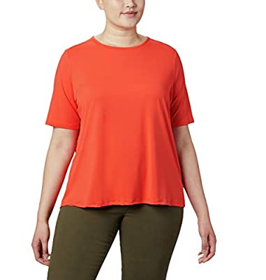 Columbia Women's Chill River Short Sleeve Shirt, Moisture Wicking, Sun Protection,Bright Poppy,2X