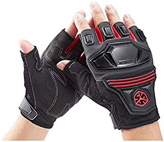 SCOYCO Breathable Shockproof Wear Resistant Finger-less Cycling Gloves for Summer (RED,L)