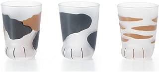 (3 Cups Set!!) Cat's Paw Glass (Children Cat Tiger,Tortoiseshell,Buchi) 6676 6677 6678
