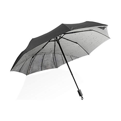 Paraguas a Prueba de Viento para Damas Habitación de concreto con Tres lámparas de Techo Paraguas Plegable Compacto portátil Protección contra Rayos UV A Prueba de Viento Viajes al Aire Libre Mujere