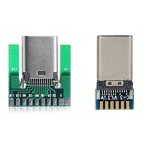CY DIY 24ピン USB 3.1 Type C オス&メスプラグ&ソケットコネクター SMTタイプ PCボード付き 1セット