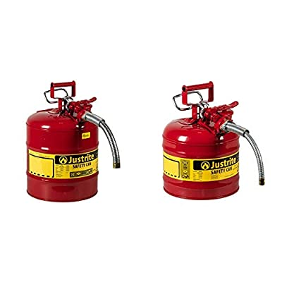 """Justrite Galvanized Steel, AccuFlow Type II Red Safety Can with 1"""" Flexible Spout, Large ID zone, Meets OSHA & NFPA For Handling Hazardous liquids"""