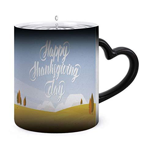 Paisaje otoñal con campos y tazas mágicas de café sensibles al calor de la mano - Té de café Taza de calor cambiante única Tazas de 11 oz Idea de regalo para mamá, papá, mujer, hombre 63865