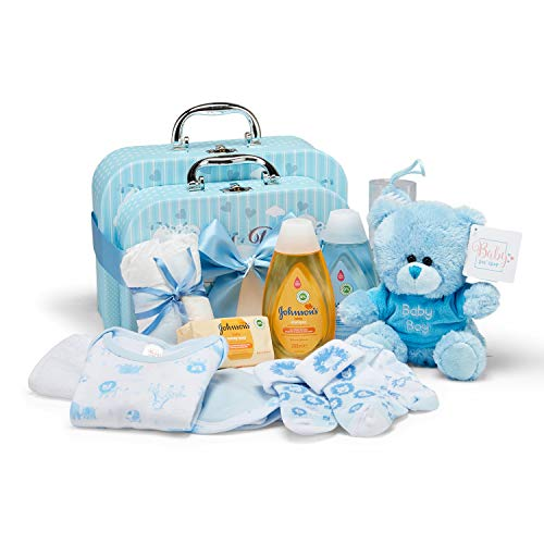 Coffret cadeau bébé I Cadeau naissance & baptême I Idée cadeau originale pour les nouveau-nés - Doux boîtes à mémoire avec ours en peluche, vêtements, bavoir, mousse de bain - Cadeau pour bébé garçon