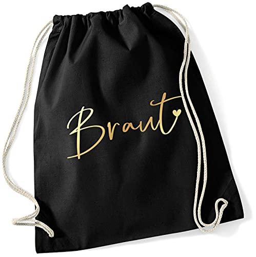 Miss Lovely JGA Bolsa de deporte mochila de tela novia con corazón en negro y dorado, accesorios y accesorios para despedida de soltera, despedida de soltero, fiestas