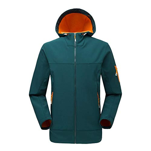 Xmiral Kapuzenjacke Herren Winddicht und Wasserdicht Snowboardjacke Winter Mäntel Wanderjacke Einfarbig Reißverschluss Warm Regenjacke(b Orange,L)