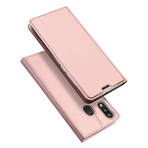 DUX DUCIS Hülle für Samsung Galaxy M20, Leder Flip Handyhülle Schutzhülle Tasche Hülle mit [Kartenfach] [Standfunktion] [Magnetverschluss] für Samsung Galaxy M20 (Rose Golden)
