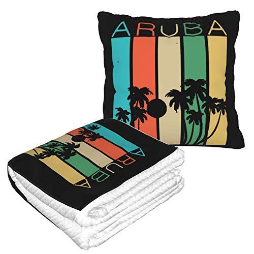 Aruba Souvenir Fashion 2 in 1 coperta da viaggio morbida e calda coperta da viaggio in peluche cuscino per dormire