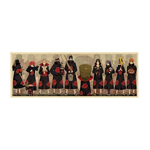 Sweet&rro17 Anime Naruto Akatsuki Póster mural habitación decoración pared para salón dormitorio