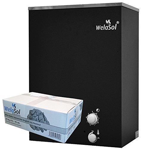 WelaSol® Saunaofen WelaSolMS integrierter Steuerung 9 kW mit Saunasteine